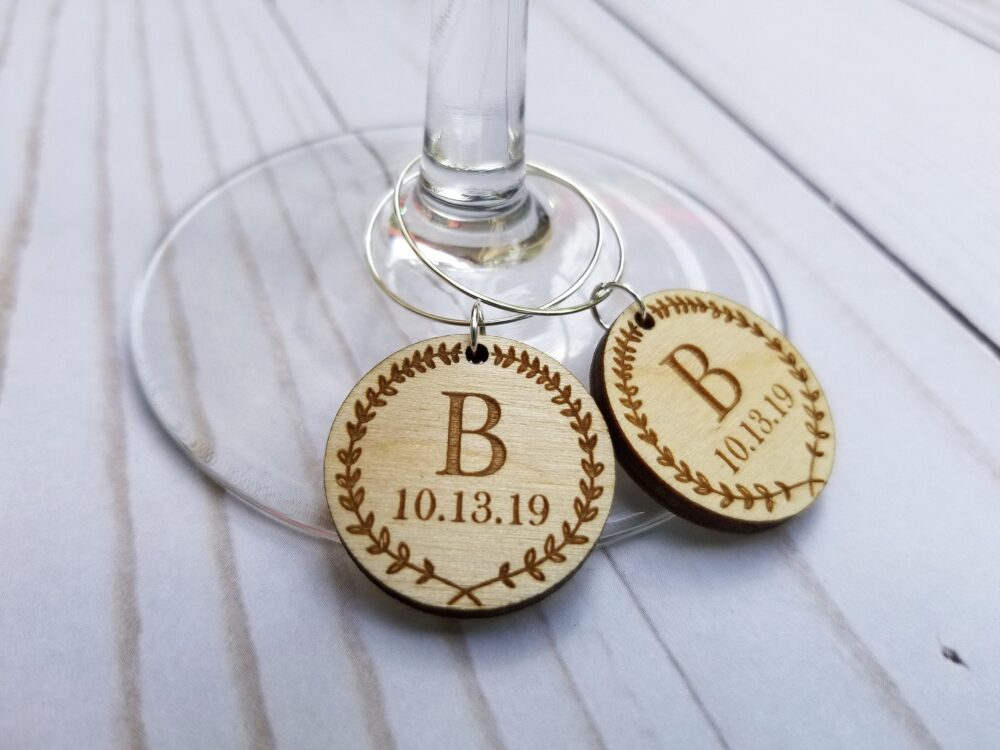Custom Wedding Favors | Personalized Wine Charms Laser Engraved Wedding Drink Tags Wine Charms With Date Cut Wood