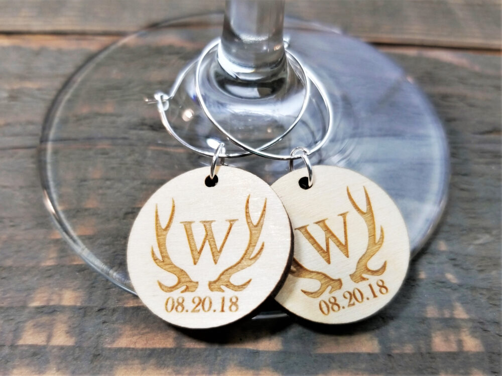 Custom Wood Wedding Favors | Personalized Champagne Charms Rustic Wedding Favor Tags Personalised Wine Charms With Date
