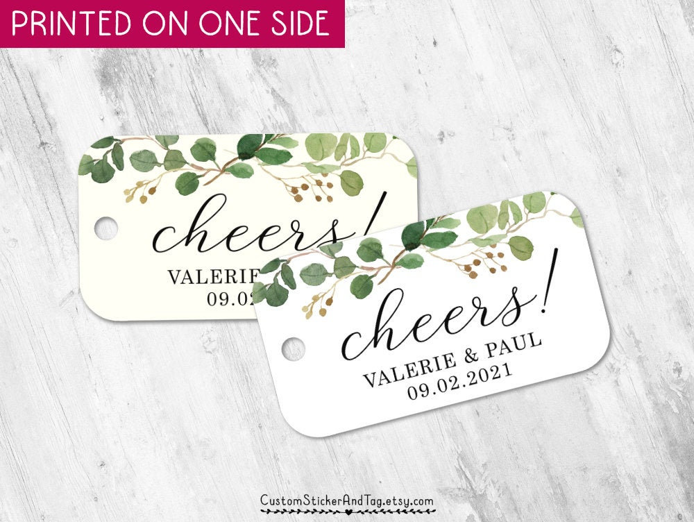 Cheers Tags With Branch Greenery, Wedding Favors, Mini Champagne Or Wine Tags, Bachelorette Personalized For Favors | T-166