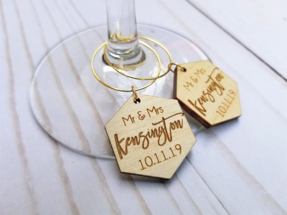Custom Wood Wedding Favors | Personalized Champagne Charms Rustic Wedding Favor Tags Wine Charms With Date