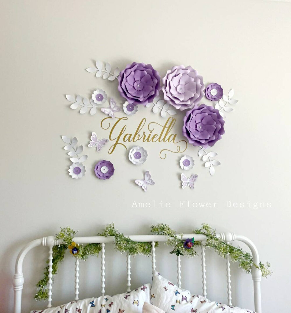 Purple & White Large Flowers Nursery Wall. Ten 3D Paper Flowers. Girls Room Floral Lavender Wall Decor Inspired By Sweet Jojo Bedding