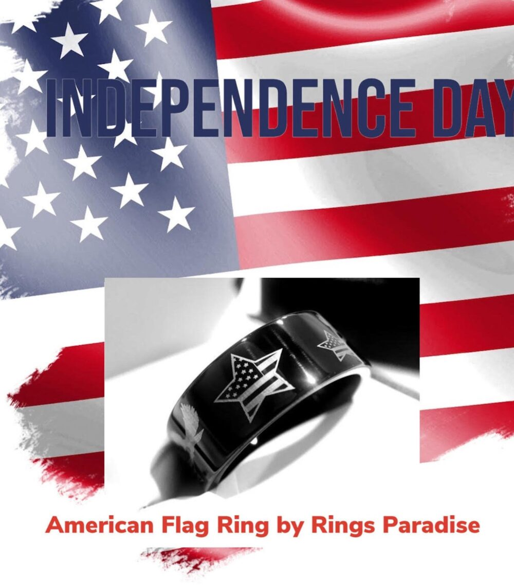 Mens Wedding Bands, Military Ring, American Flag Engraved Tungsten Carbide Patriot Soldier Ring