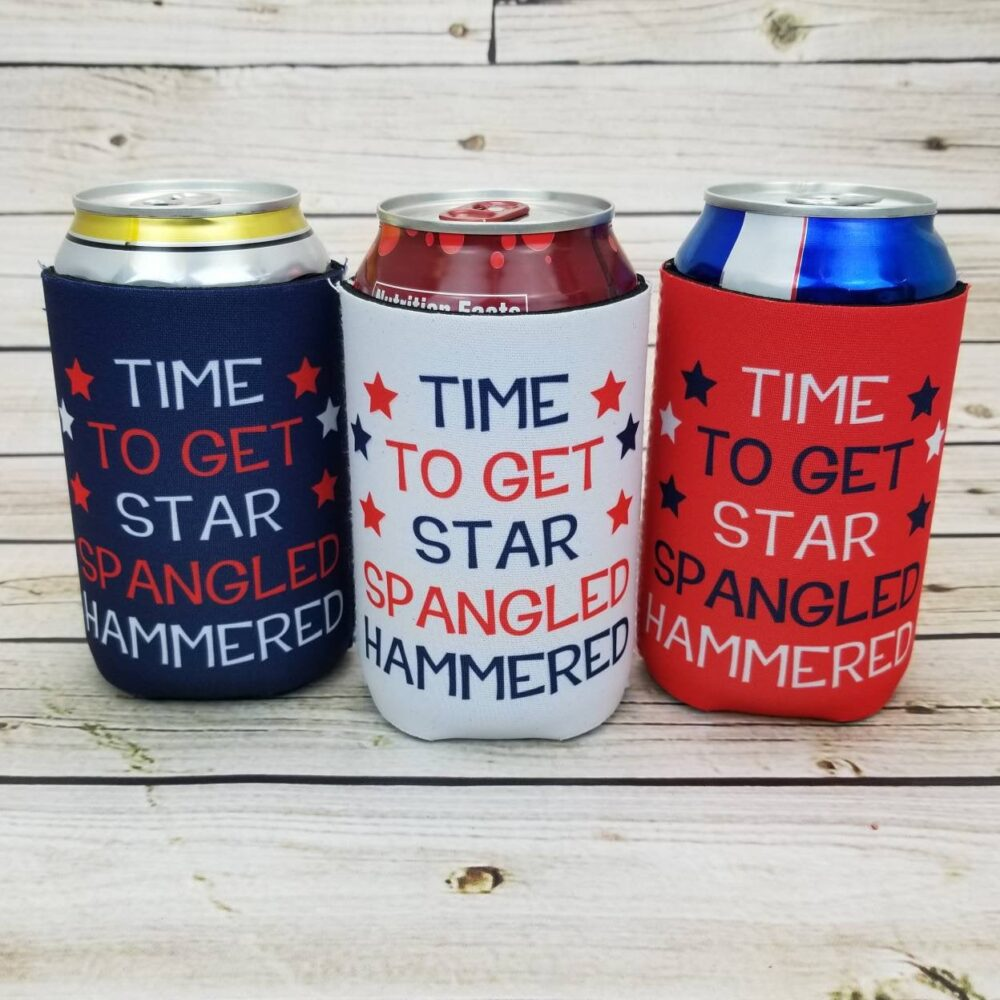 Time To Get Star Spangled Hammered Party Favors/4Th Of July Custom Can Coolers Starsh-Mx