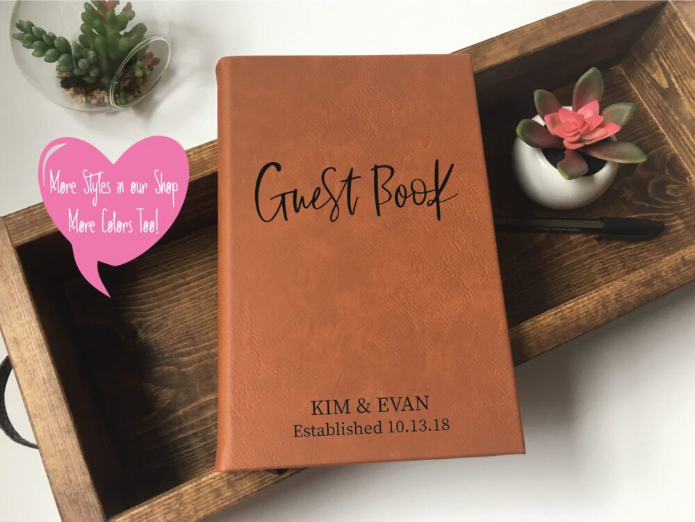 Affordable Wedding Guest Book Personalized | Elegant Guestbook Leather Must Haves