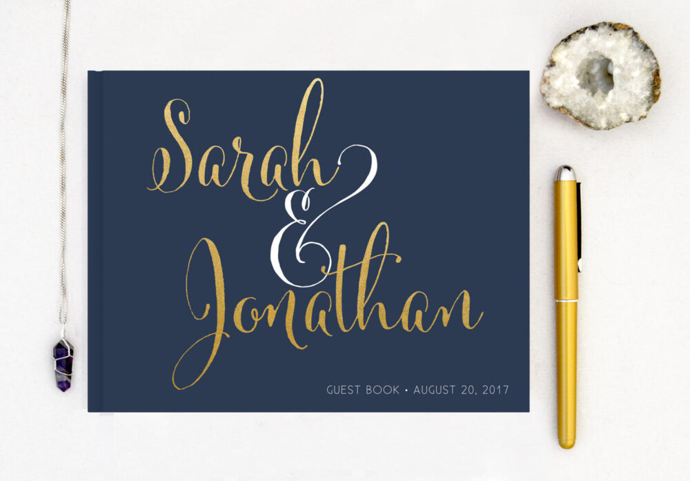 Real Gold Foil Guest Book Wedding Landscape Horizontal Foil Custom Guestbook Modern Script - Navy Color Choices
