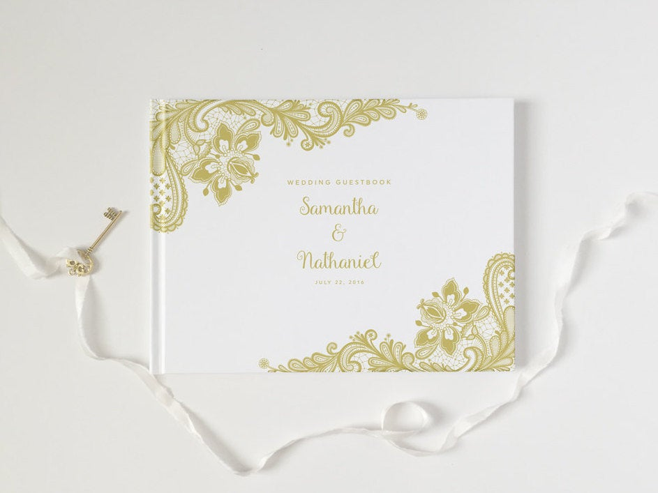 Wedding Guest Book - Guestbook Custom Personalized Customized White & Gold Lace Photo