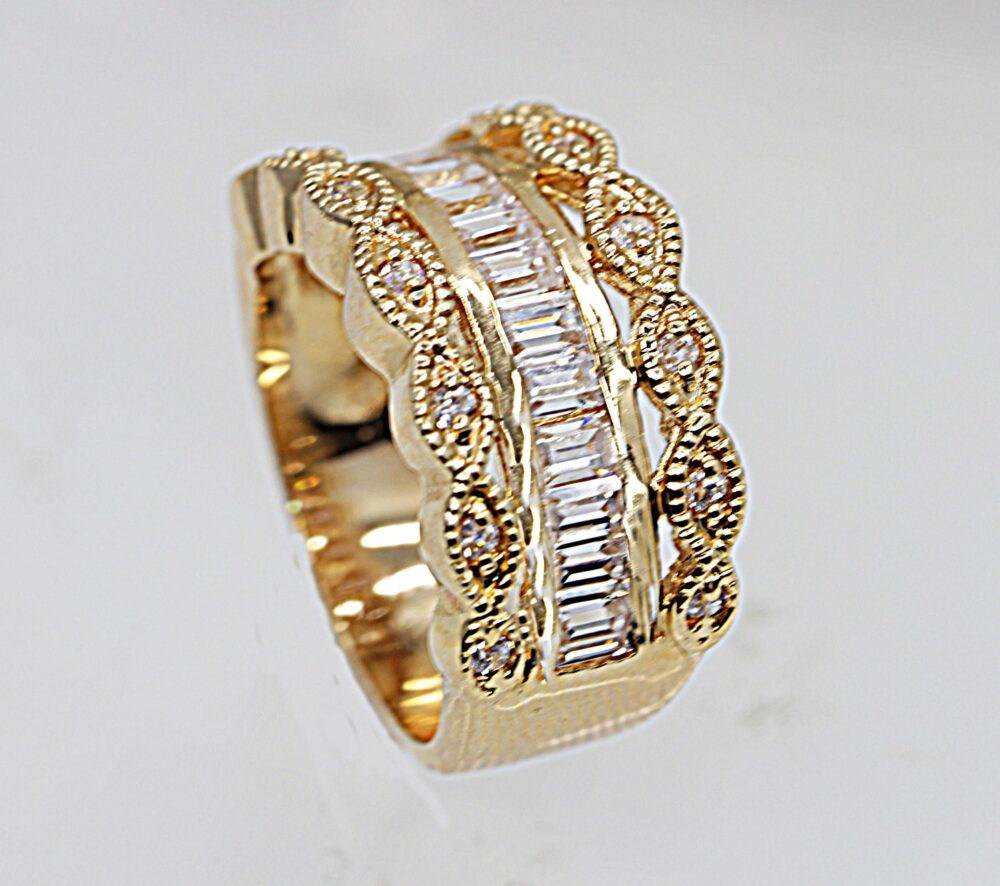 Wide Half Eternity Band Ring, Mixed Cut Clear Zirconia Women's Cubic Pave 14K Gold Filled Ring