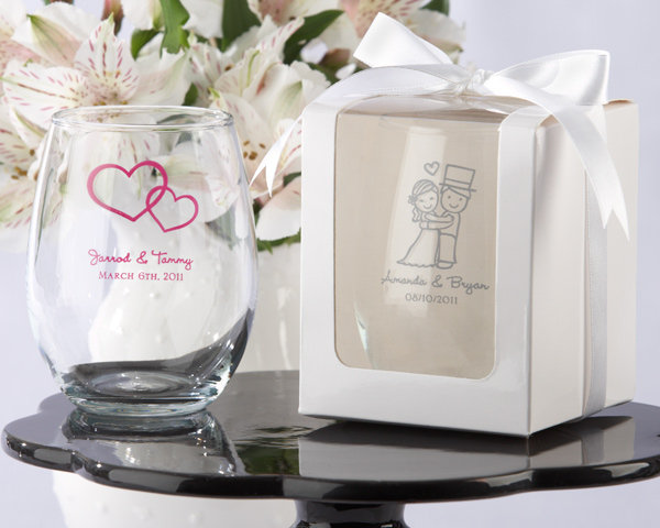 Personalized Stemless 9 Oz. Wine Glass Wedding Custom Glassware Favors Winery Beach Destination Bridal Shower Party Guest