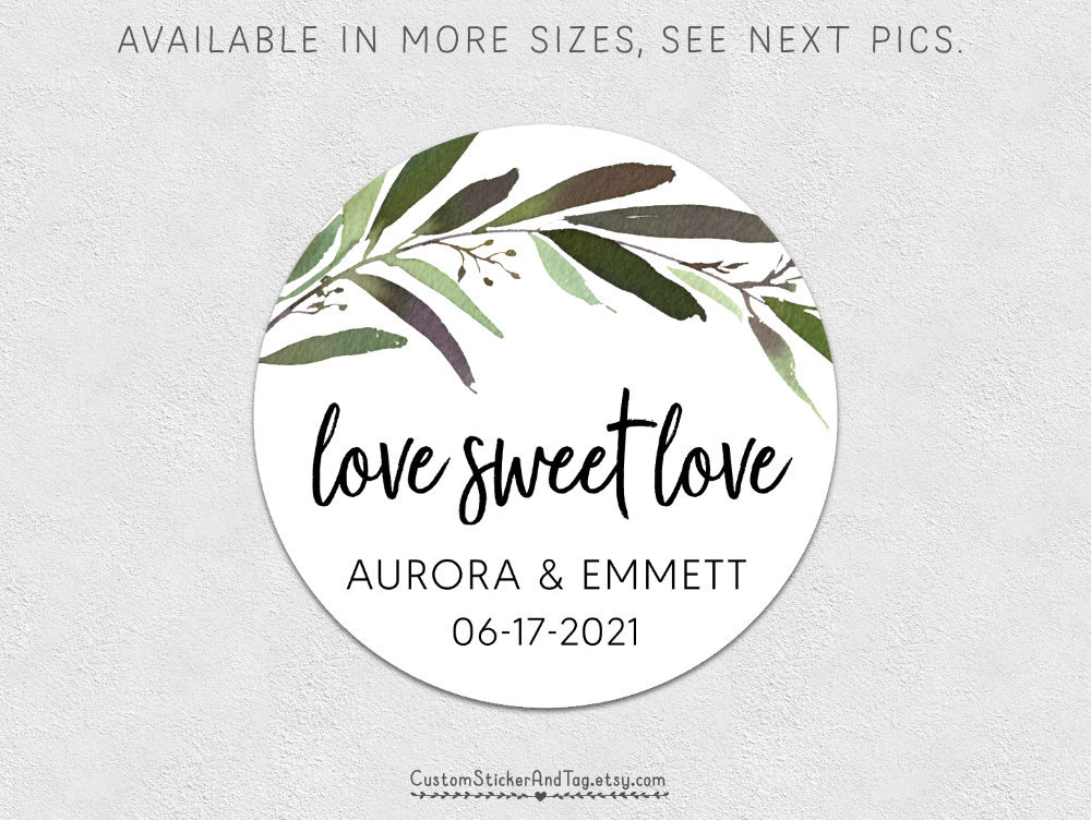 Love Sweet Love, Greenery Branch & Leaf Labels, Wedding Stickers, Candy Labels For Wedding, Cookie Favors, Cake Box | S-229