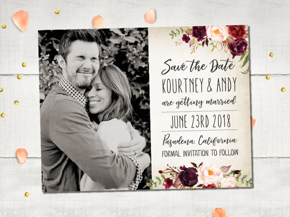 Wedding Save The Date Magnets - Burgundydream Rustic Floral Magnet, Maroon Flowers Photo Date, Personalized 4.25x5.5