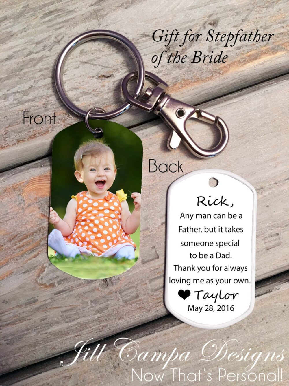 Stepfather Of The Bride - Stepdad Bride Custom Photo, Gift For Stepdad, Step Dad Wedding Father Bride, Stepfather