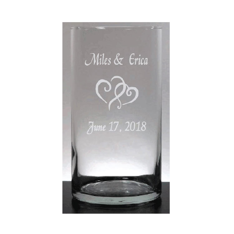 Wedding Gifts, Personalized Custom Cylinder Glass Clear Vase, 7.5 Inch Etched Bride & Groom Anniversary Gift, Mr Mrs Gift