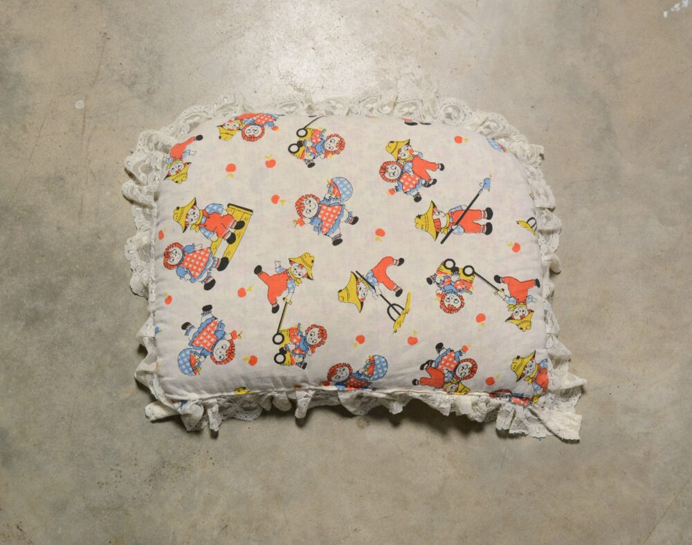 Vintage 30S 40S Raggedy Ann Andy Pillow Down Filled Lace Trim 1930 1940 Home Decor Boy Girl Kid Child Bedroom