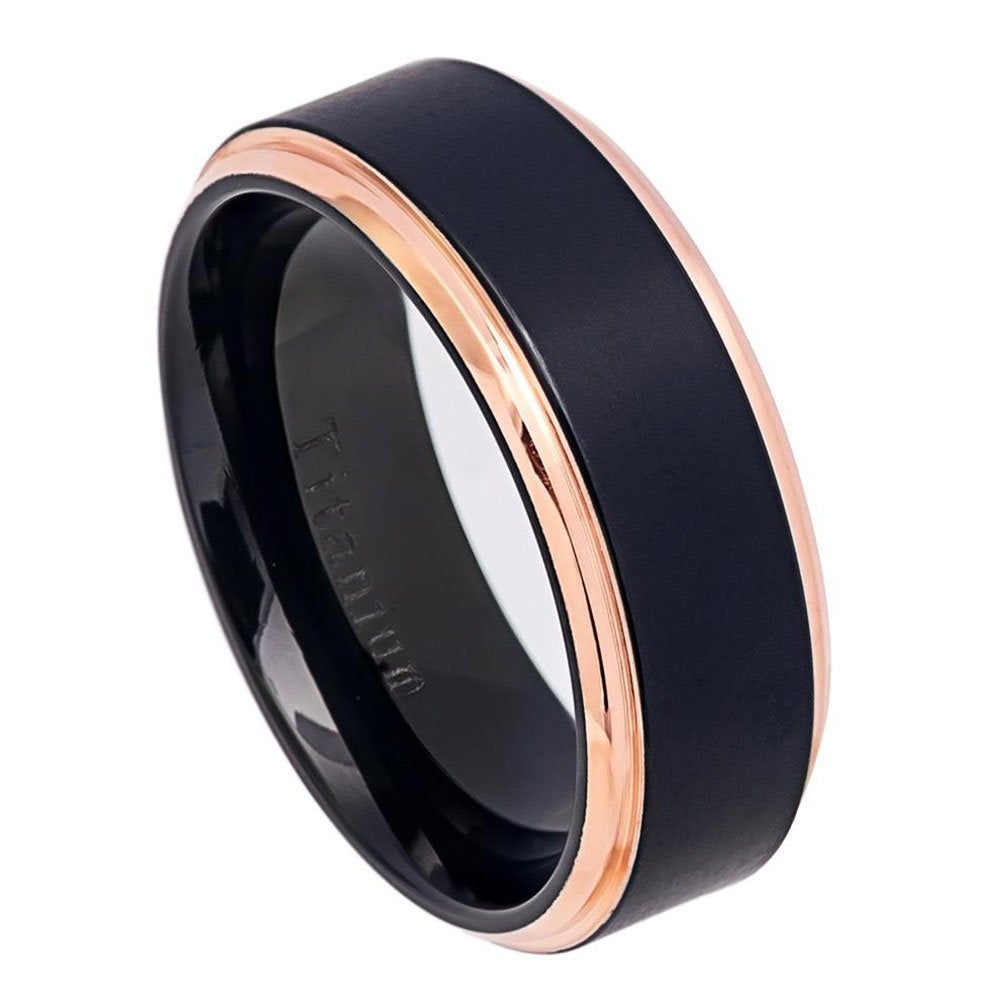 Custom Engraving 8mm Titanium Band Two Tone Black Rose Gold Ip Brushed Center Ring/Gift Box(Jdti579