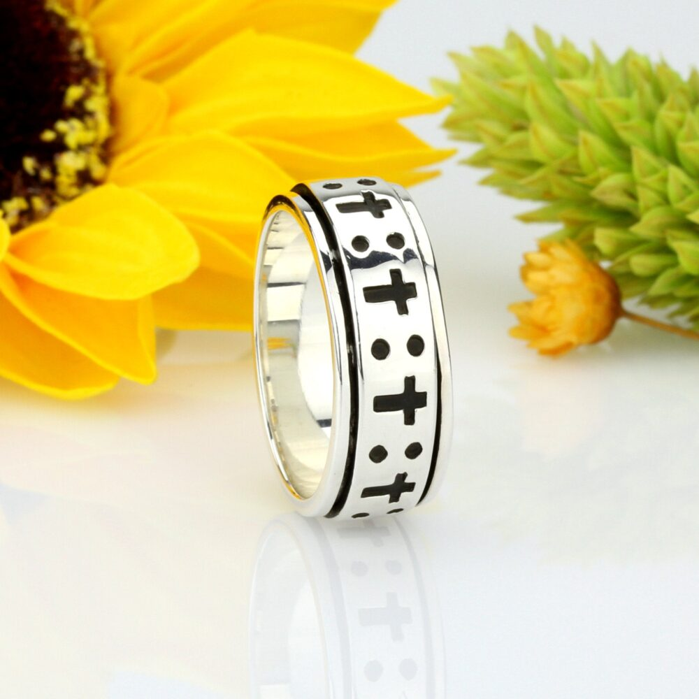 Custom Engraving Men Women 8mm 925 Sterling Silver Oxidize Finish Cross Spinner Ring Band(Snrp141128