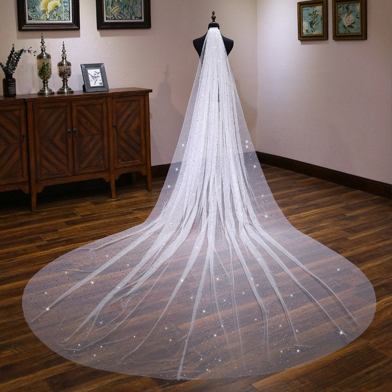 Sparkle Star Moon Sequins Wedding Veil, Fairy Veil, Flashing Super Long Wedding Veil, Delicate Bridal Veil, Cathedral Veil(Vjf17