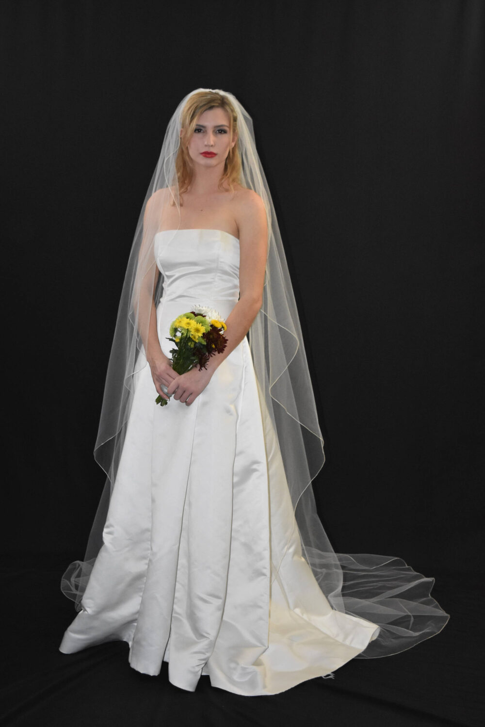 Angel Cut Pencil Edge Cathedral Veil | Waterfall Long Wedding Cascading Cathedral Veil Bridal