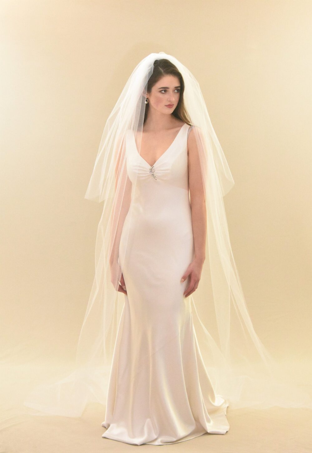 Classic Cathedral Veil With Blusher | Two Tier 2 Layer Length Wedding Long