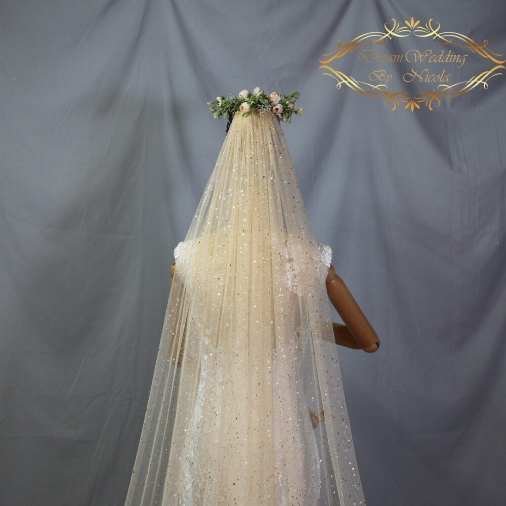 Sparkle Shimmer Champagne Wedding Veil, Sparkle Bridal Veil, Cathedral Veil, Bridal Veil, Flashing Super Long Veil