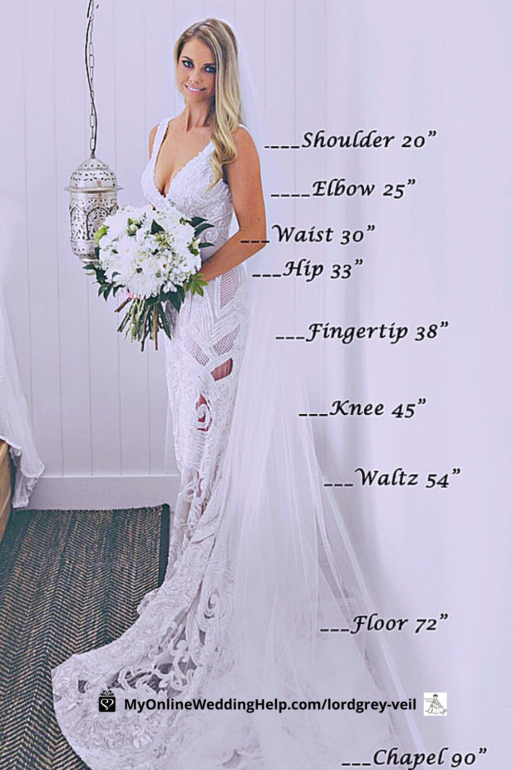 Beautiful bride wearing a long veil. Text labels show different veil lengths.