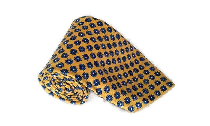 Valentine's Day Gift For Him Vintage Necktie Men 80S Novelty Print Tie Men Neck Made in Italy Yellow Wedding Funny Silk Colorful