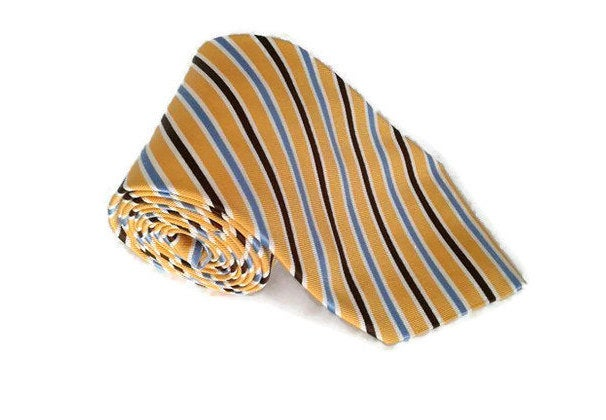 Vintage Necktie For Men 80S Silk Tie Men Neck Made in Italy Gift Him Yellow Wedding Day Funny Italian Silk Colorful