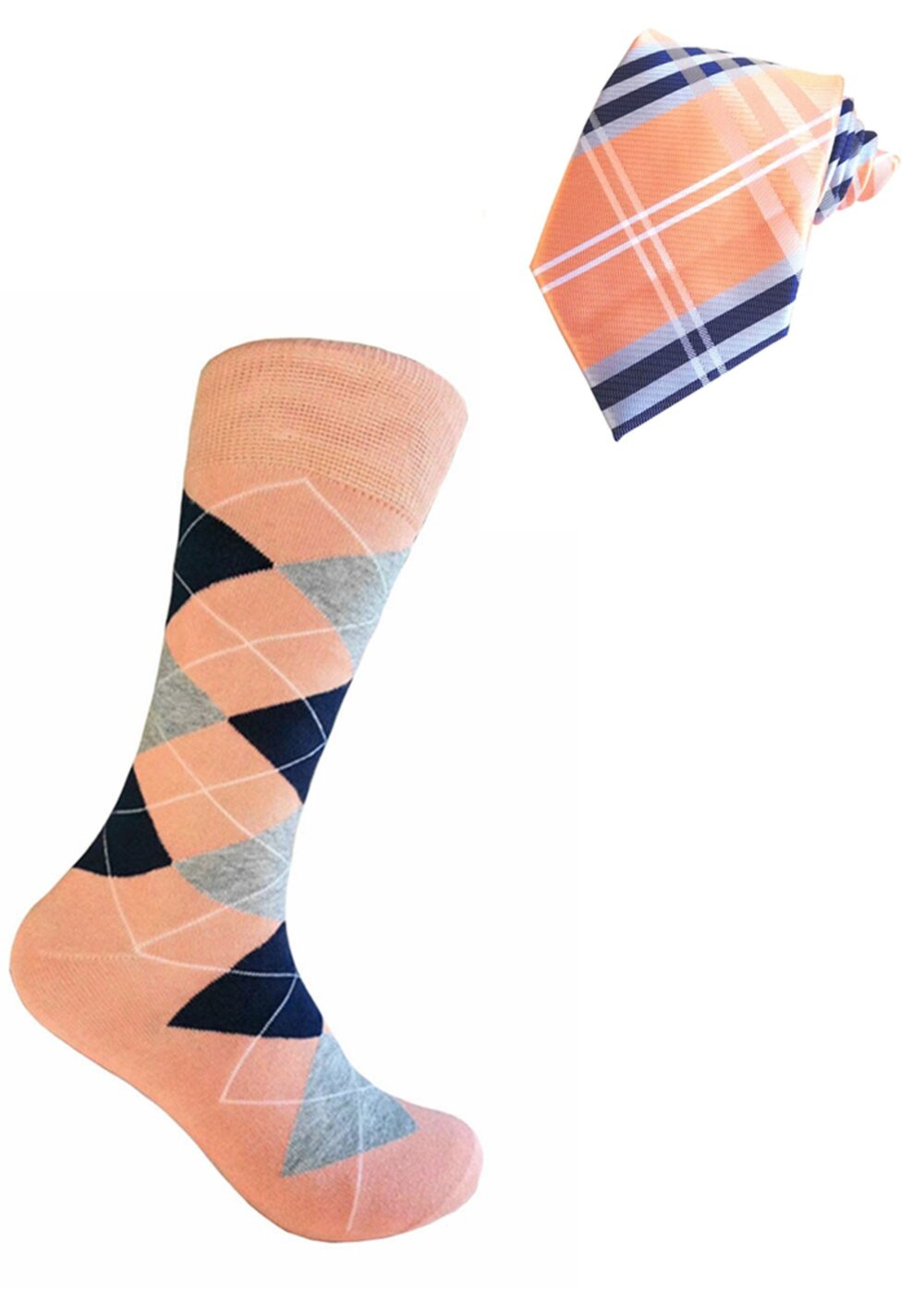 Peach With Navy Blue & Heather Gray Color Plaid Necktie Argyle Socks Set For Men in Multi-Occasion