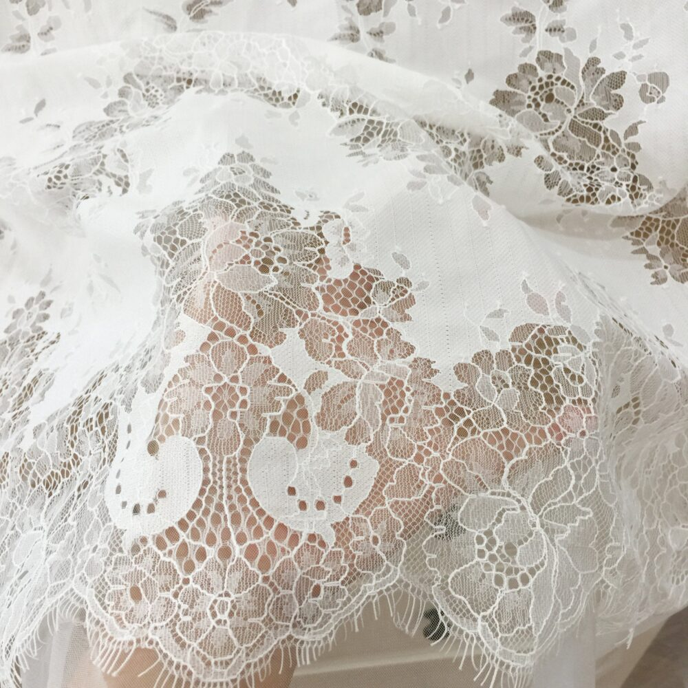 3 Meters Long Unique Design Eyelash Chantilly Lace Fabric in Off White , Boho Beach Wedding Gown Dress 150cm Wide