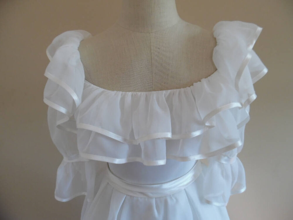Vintage 1990S Redux 1950S Off Shoulder Short Sleeved Ruffle Trimmed Wedding Gown Dress With Full Skirt By French Design House Sasson