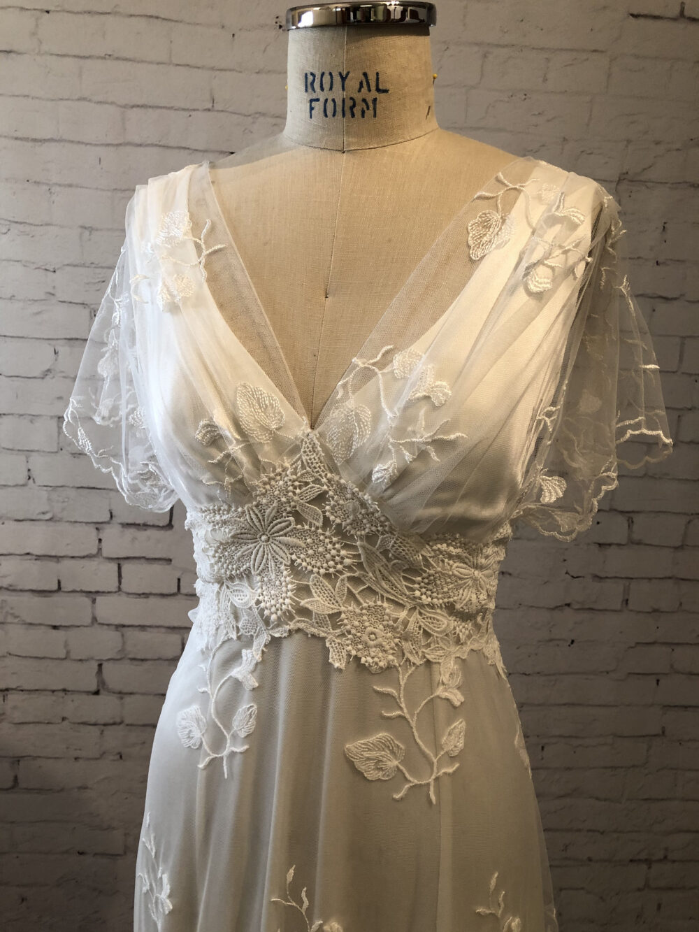 Lace Wedding Gown Dress With Sleeves, Buttons Up Back & Train. Vintage Style, Boho Classic Simple. Helene Gown