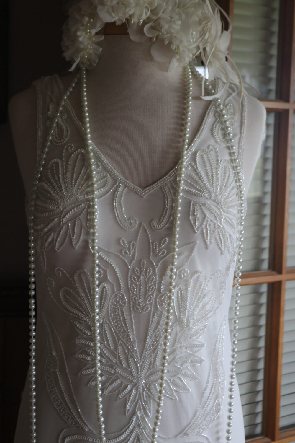 Beaded Flapper Wedding Dress Bridal Gown Gatsby Inspired Art Deco 1920S 1930S