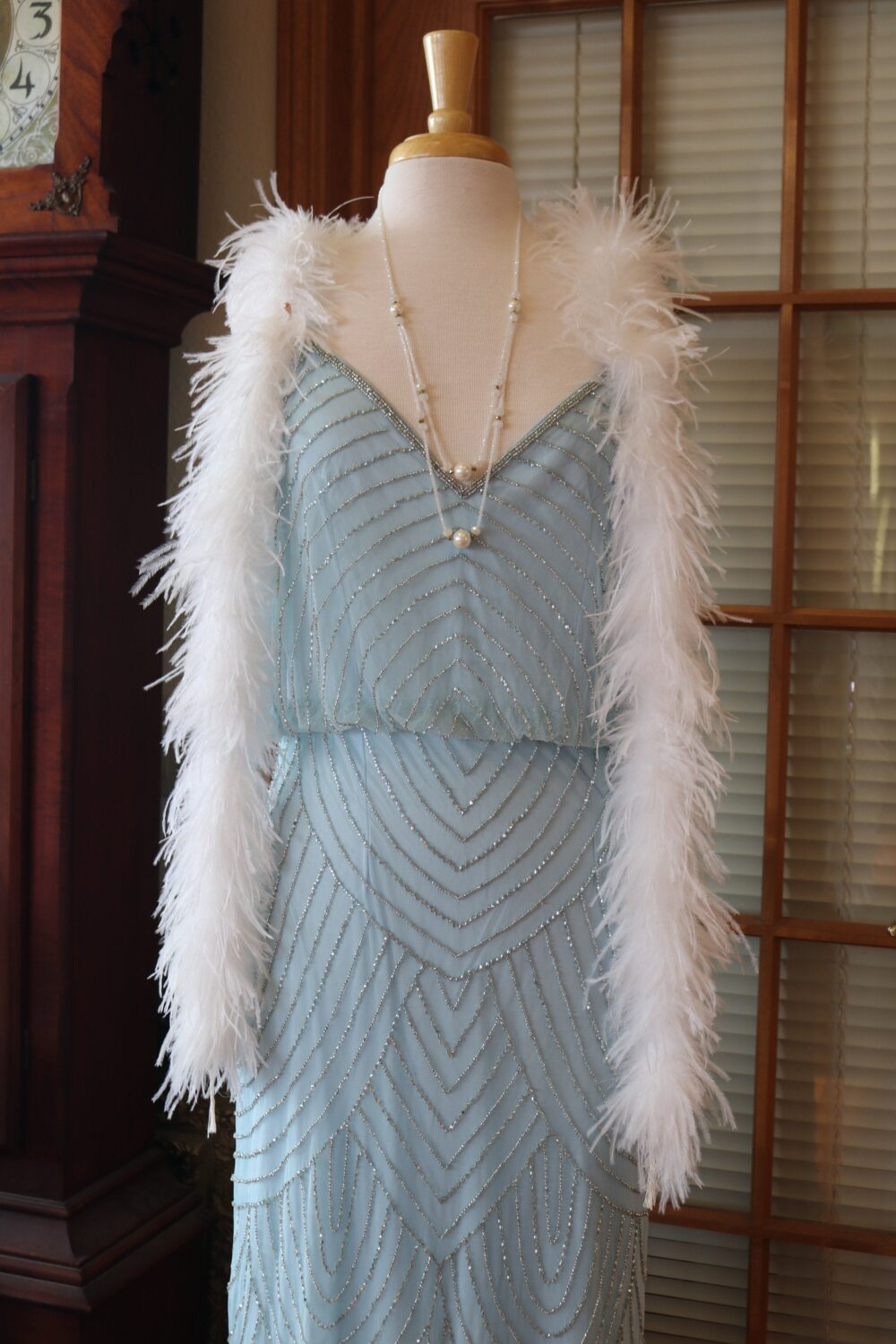 1920S Inspired Flapper Beaded Wedding Dress Downton Abbey Bridal Gown Blue