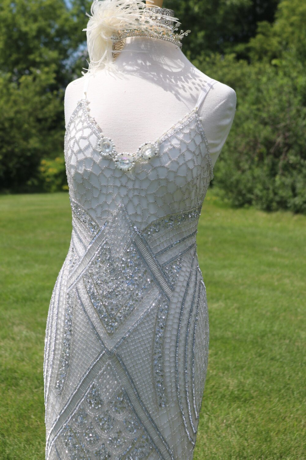 Silver Beaded 1920S Flapper Wedding Gown Gatsby