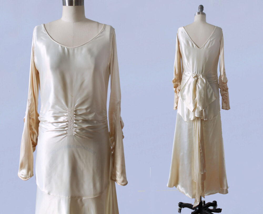 1920S Wedding Dress/20S Liquid Satin Flapper Bridal Gown Heavily Ruched Huge Bow V Back Amazing