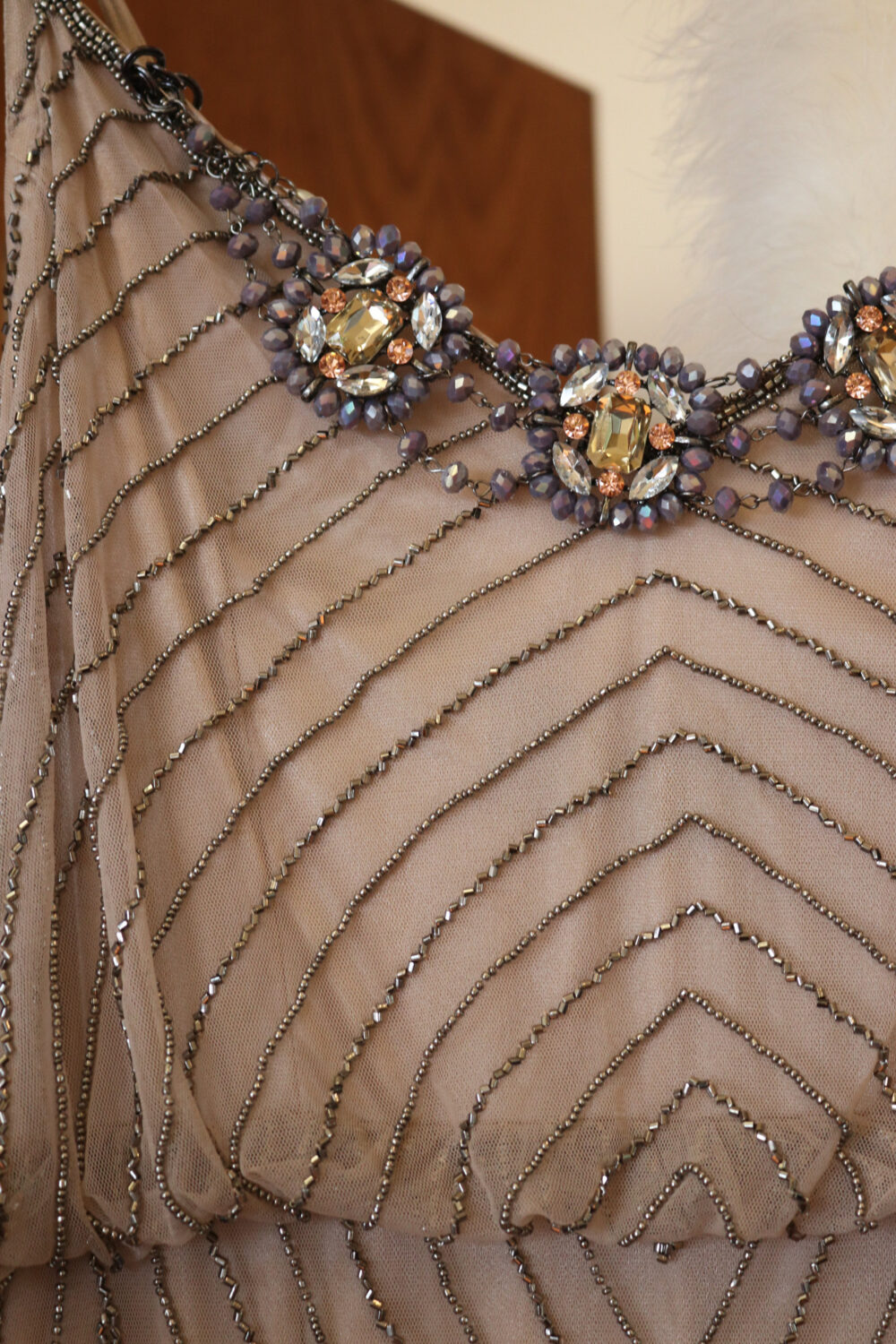 1920S Inspired Flapper Beaded Wedding Dress Downton Abbey Bridal Gown Taupe