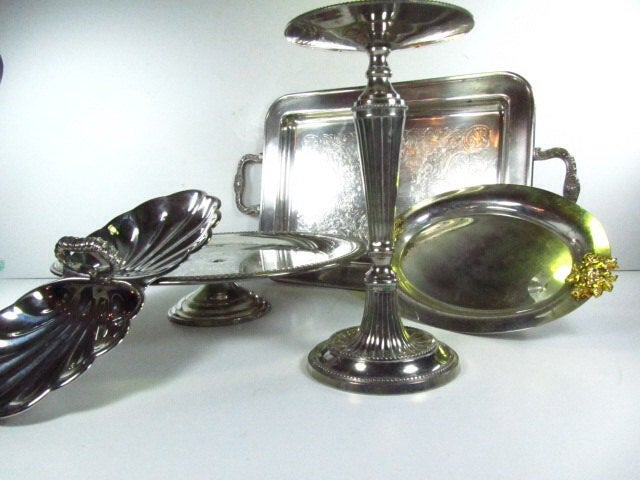 Vintage Silver, Candle Holder, Cake Stand, Serving Bowls, Serving Dish, Shabby Chic Decor, Silver Dish, Wedding Decor, Entertaining