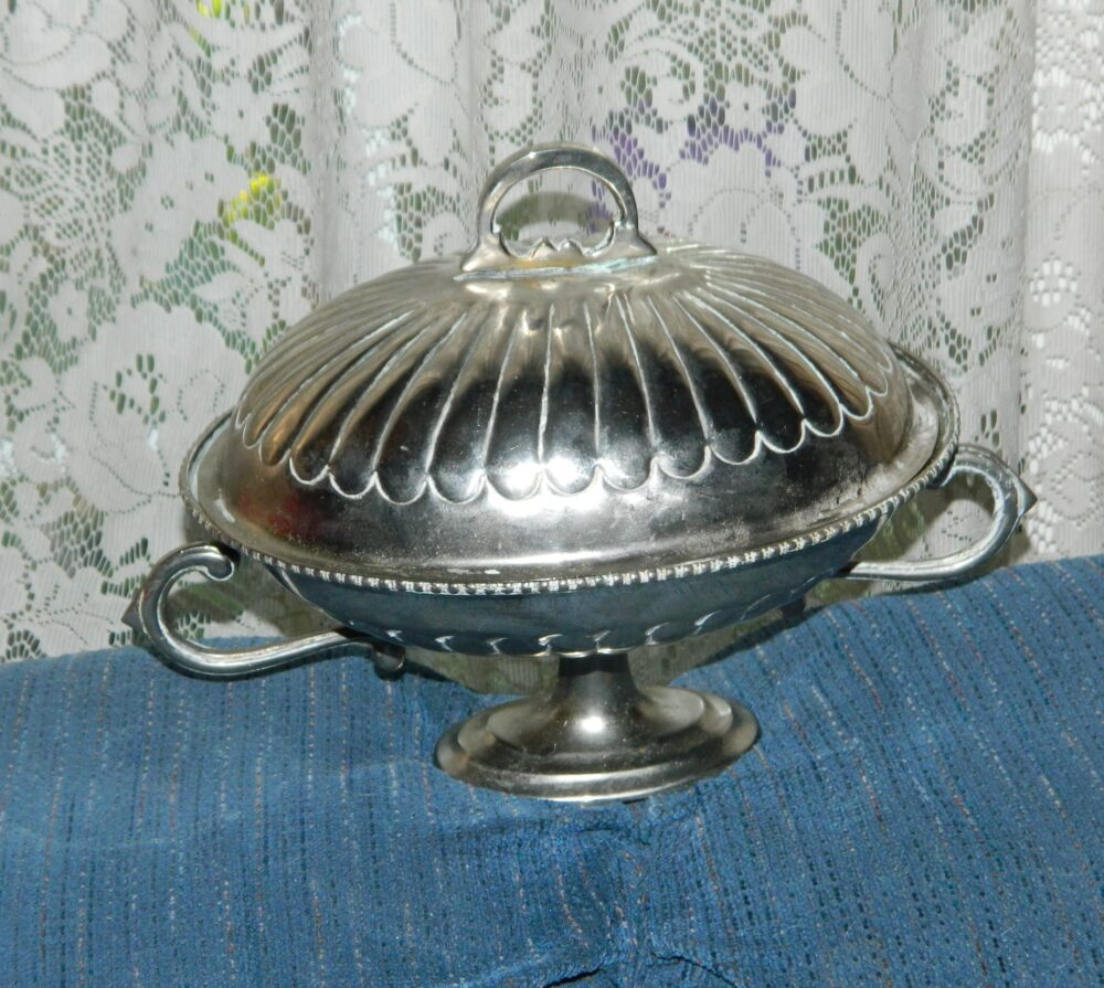 A Vintage 2 P.c~Silver Plate~Uniquely Shaped~Serving Dish with Pedestal~A Nice Addition To Your Luncheons~Wedding~Dinner~Holiday Table Decor~