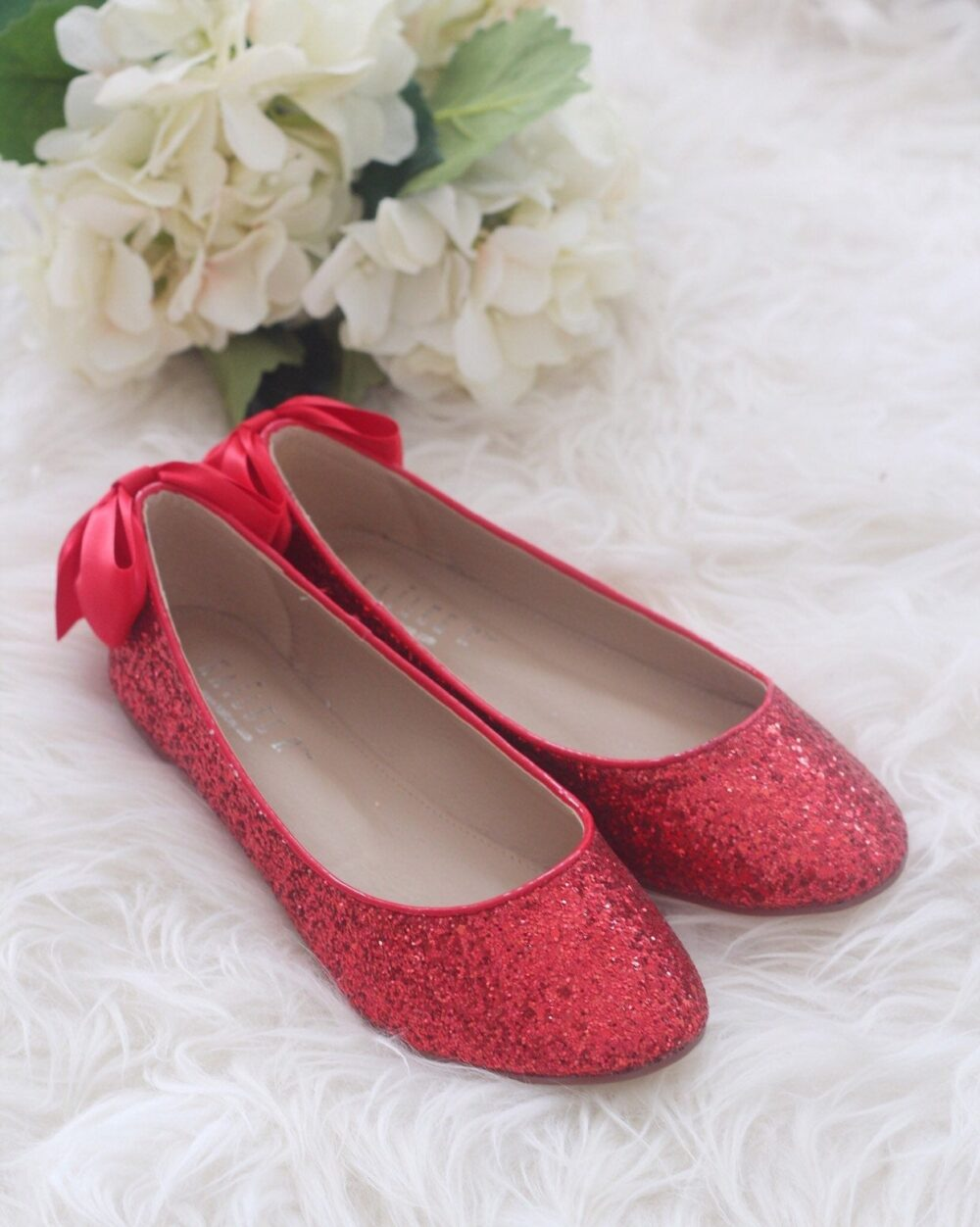 Red Rock Glitter Flats With Back Satin Bow - Bridal Shoes, Bridesmaids Women Wedding Flats, Holiday Shoes