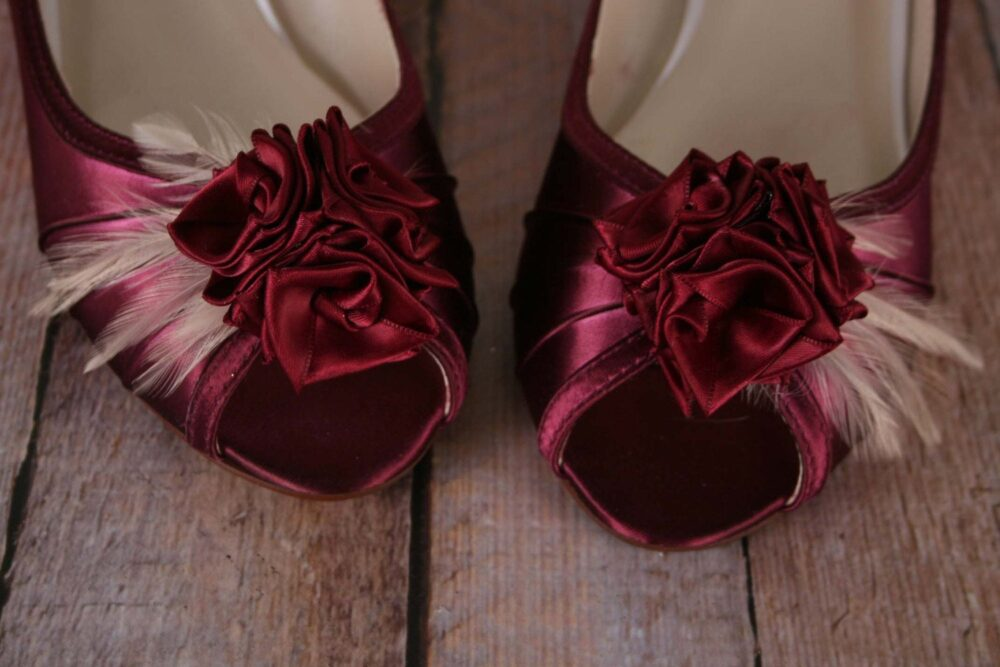 Wine Wedding Shoes For Bride, Wedge Shoes, Bride Rose Wedges, Rouge Bridal Custom
