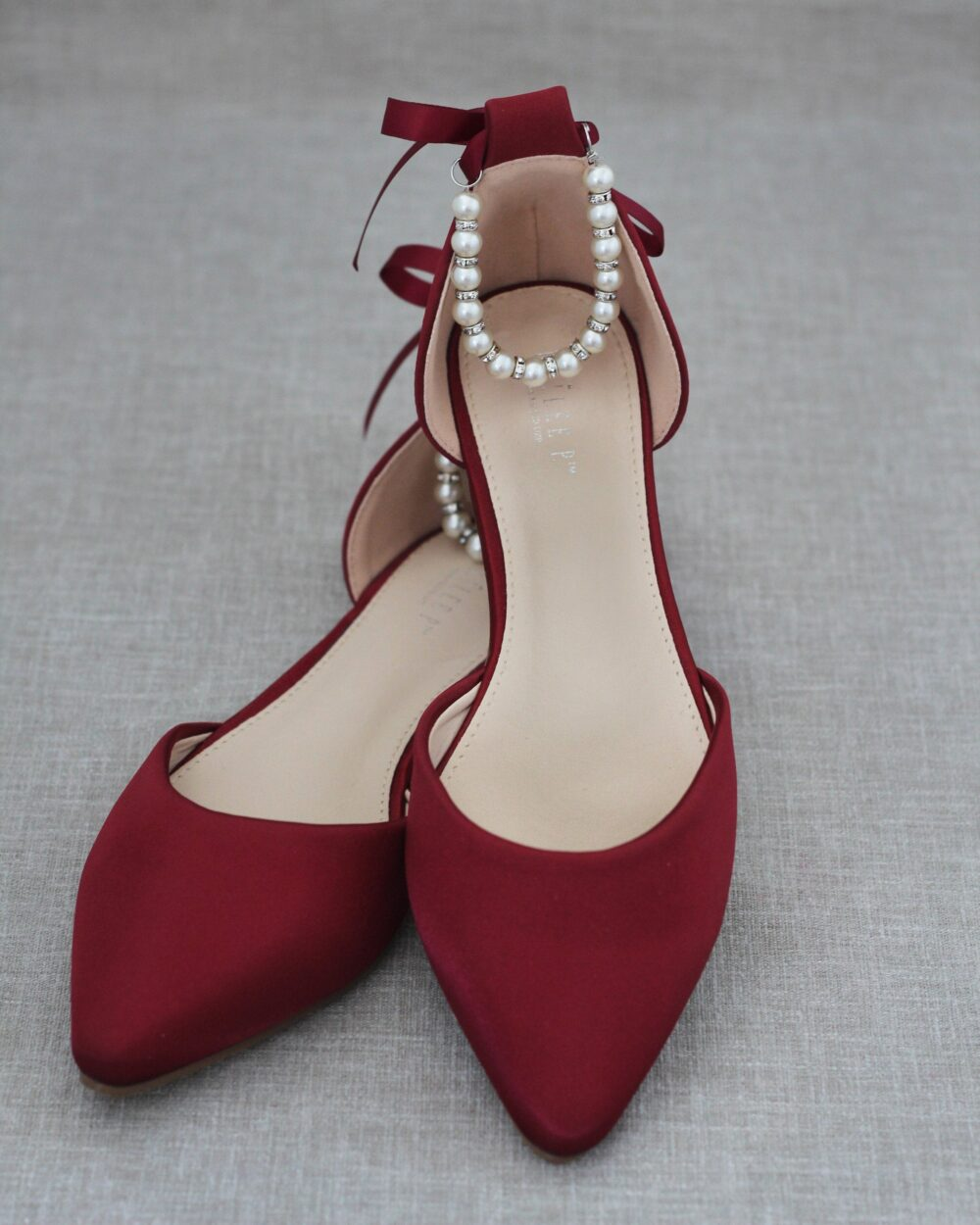 Burgundy Satin Pointy Toe Flats With Pearls Ankle Strap, Maroon Wedding Shoes, Bridesmaid Wine Bridal Flats, Holiday Evening Shoes