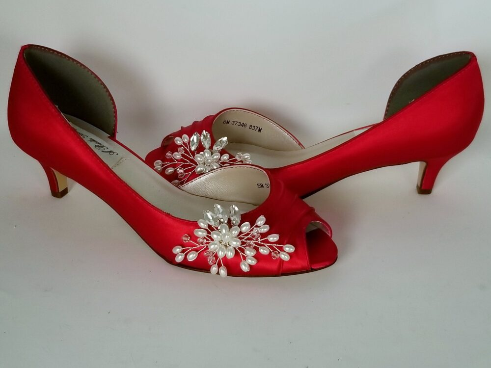Red Wedding Shoes Crystal & Pearl Flower Design Bridal Bridesmaid Pick From 100 Colors