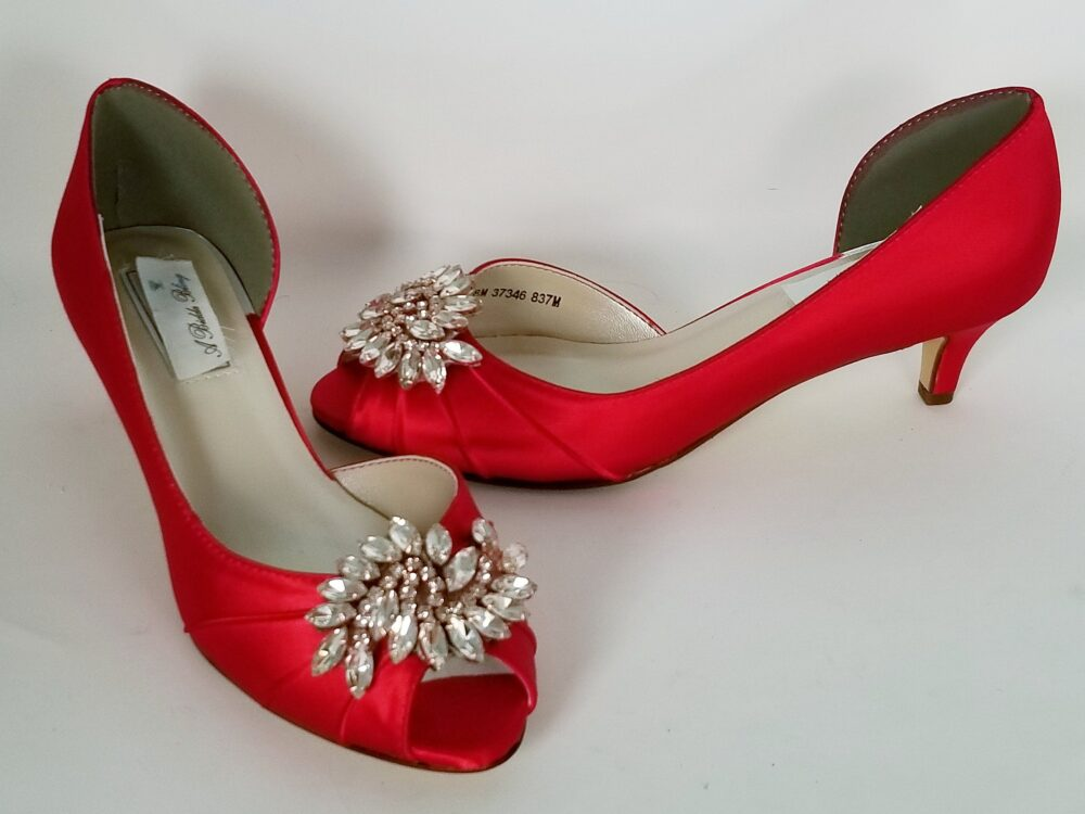 Red Wedding Shoes Sparkling Crystal & Rose Gold Applique Bridal Bridesmaid Pick From 100 Colors