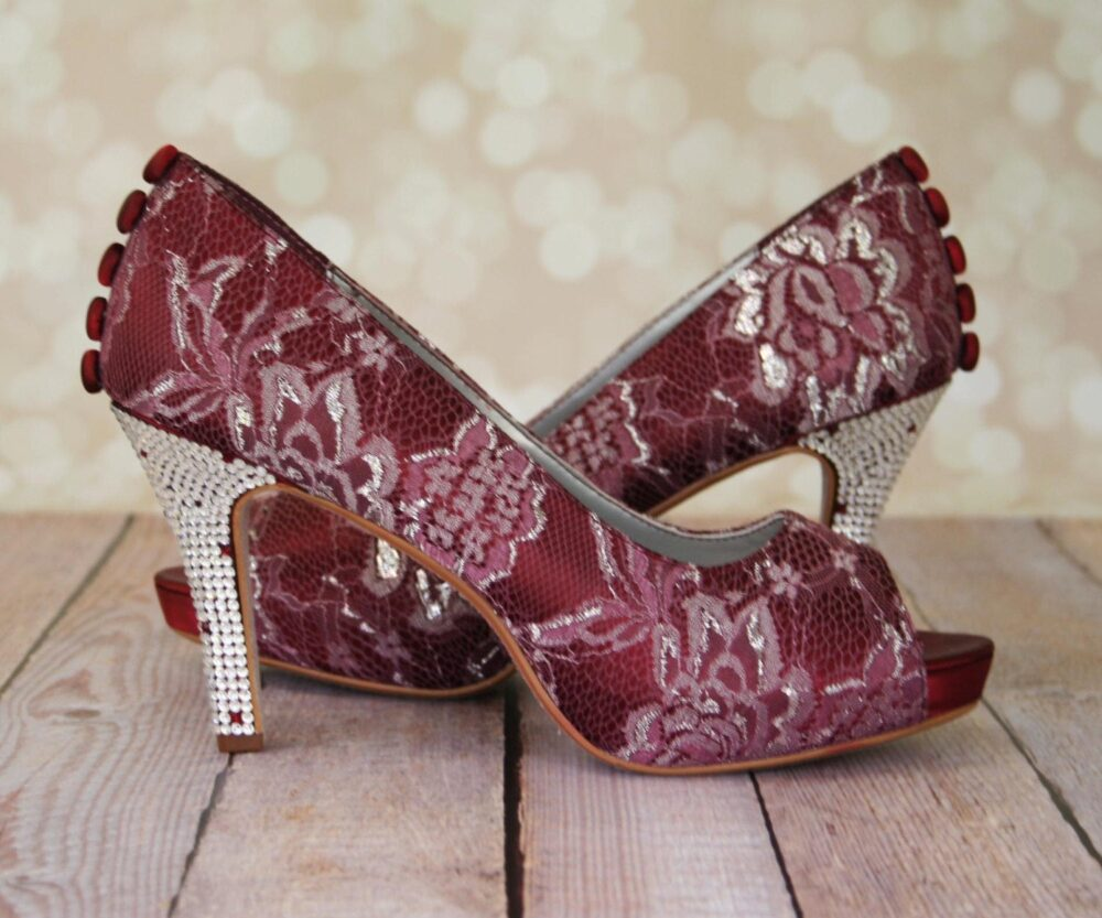 Red Wedding Shoes For Bride, Lace Shoes, Rouge Crystal Heel Bridal Heels, Wine