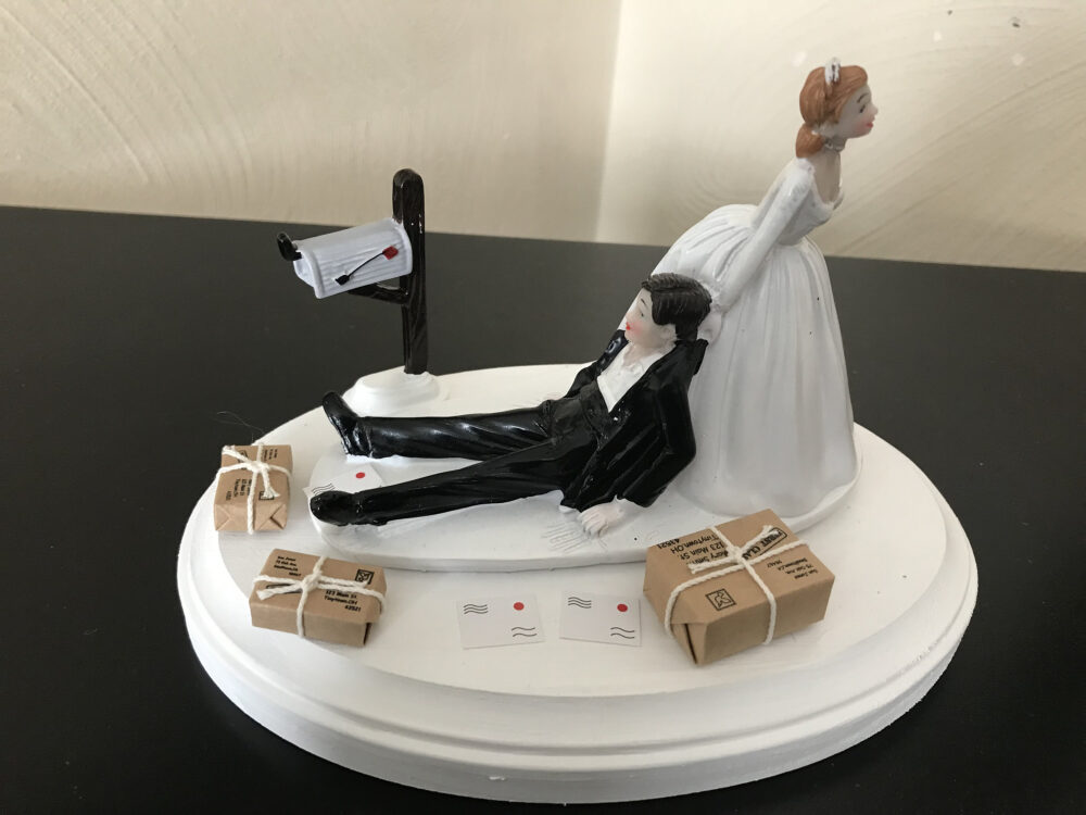 Cake Topper Wedding Day Bride Groom Funny Mailman Post Office Worker Postal Carrier Hair Color Changed For Free