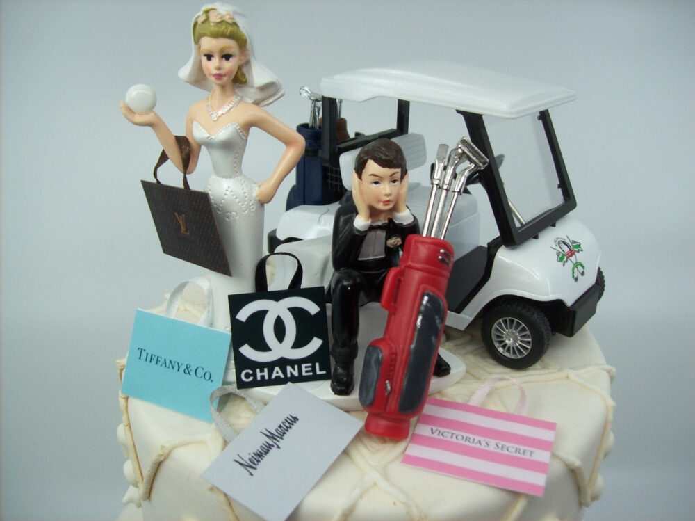No Golf Got The Ball With Cart & Shopping Bags Bride Groom Wedding Cake Topper Funny