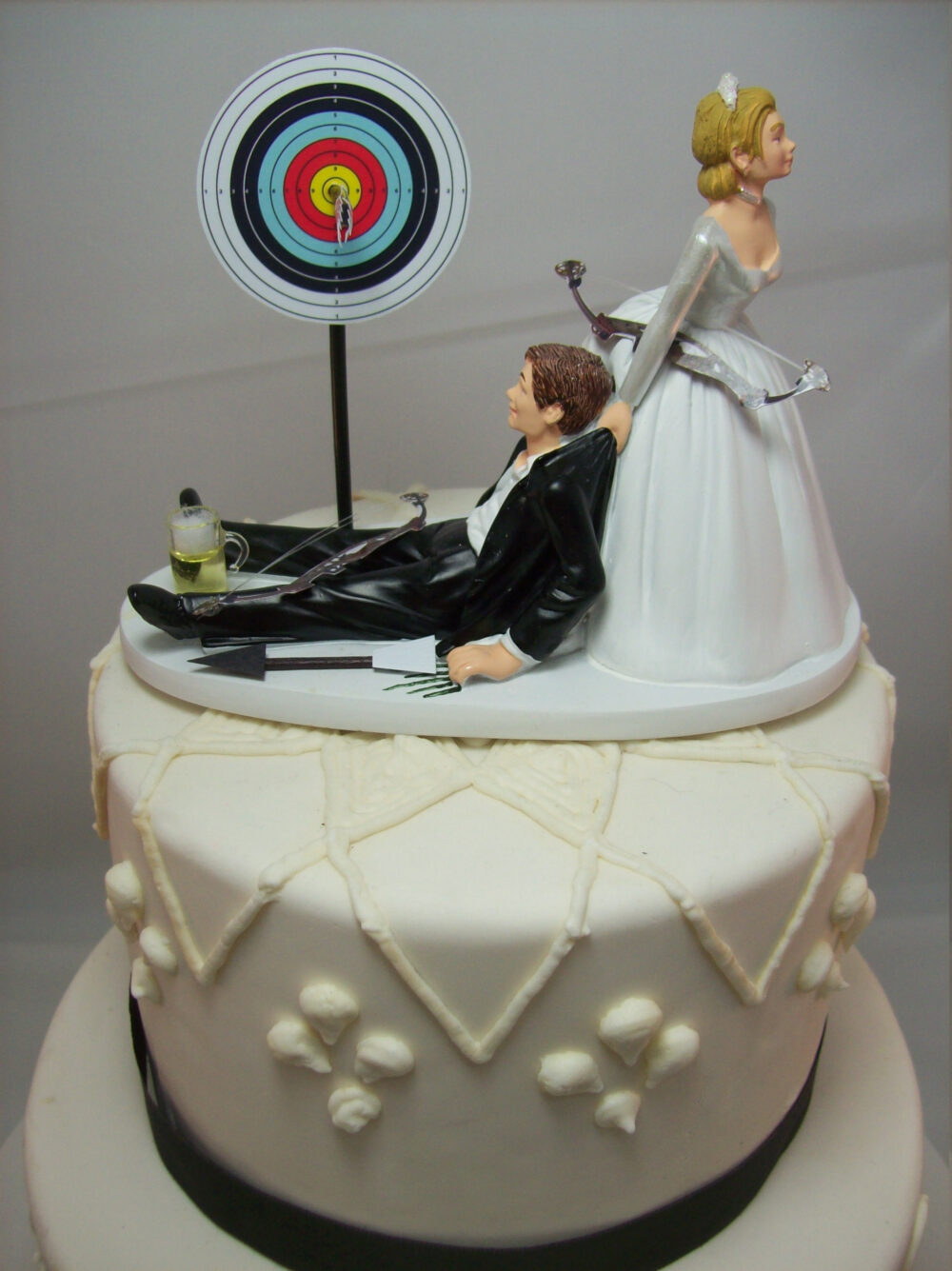 No Bow & Arrow Target Board Bride Groom Wedding Cake Topper Funny Bar Game