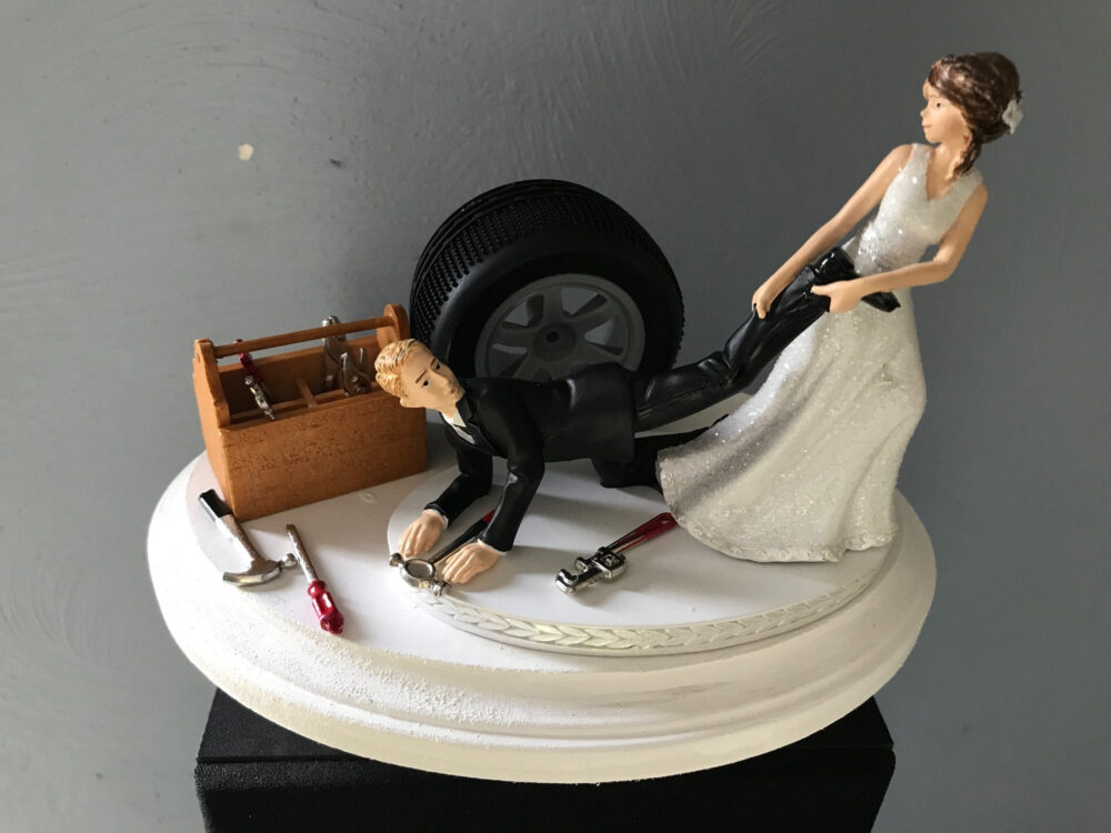 Cake Topper Wedding Day Bride Groom Funny Auto Mechanic Grease Monkey Themed Automotive Garage Shop Tools Hair Color Changed For Free
