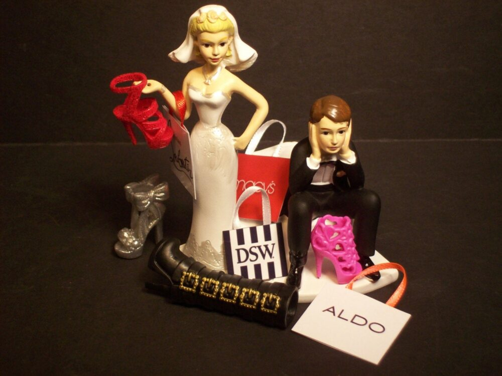 No Shoe Shopping With Bags & Shoes Bride Groom Wedding Cake Topper Funny