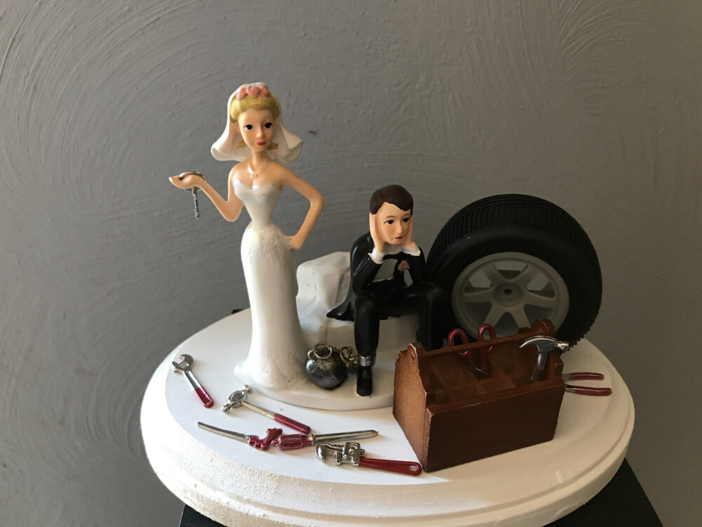 Cake Topper Wedding Day Bride Groom Funny Auto Mechanic Grease Monkey Themed Automotive Garage Shop Tools Ball & Chain With Key