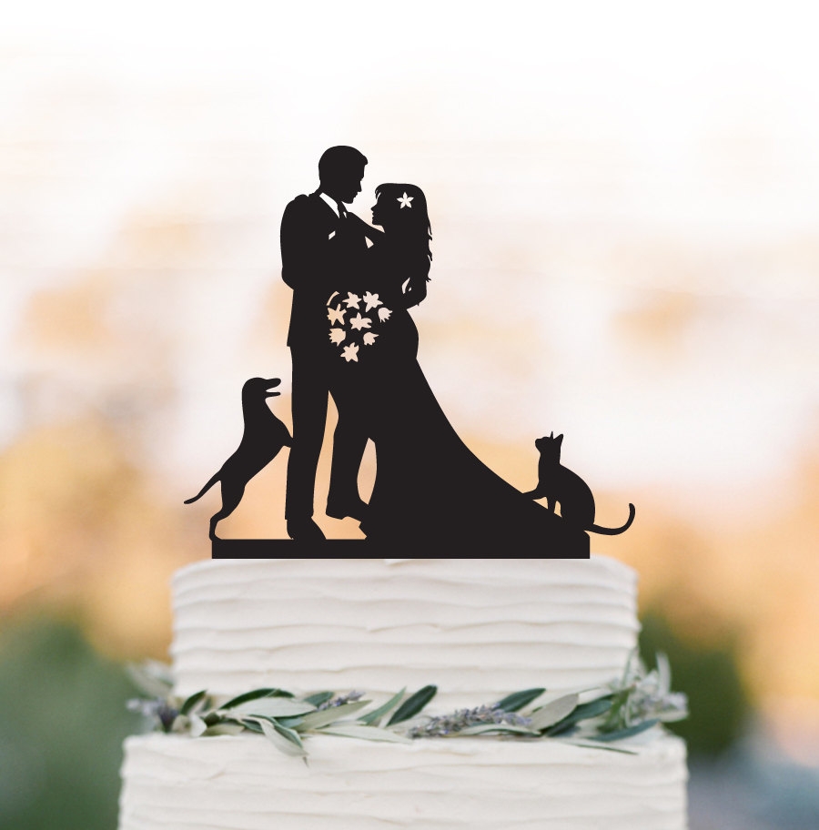 Unique Wedding Cake Topper With Dog & Cat, Bride Groom Wedding Cake Topper, Funny Personalized